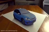 ترسیم نقاشی سه بعدی - ماشین فولکس گلف