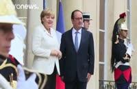 دیدار رئیس جمهوری فرانسه با صدراعظم آلمان در کاخ الیزه